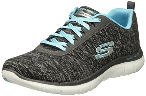 Skechers Women's Flex Appeal 2.0 Fashion Sneaker, black light blue, 9 M US