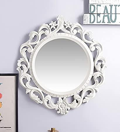 Artesia Round Shape Wall Decorative Mirror Frame Off White
