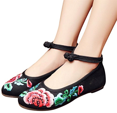 Satuki Chaussures Brodées Pour Les Femmes, Noeud De Style Chinois Fait À La Main Mocassins Chaussures Plates Floral Noir