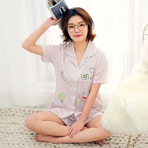 maniche Cardigan a Colore cotone manica donna corte da a in in dimensioni Pink XL cotone estiva maniche HUXIUPING Pigiama Pink corte corta 6xFd6q