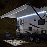 RecPro RV White LED Awning Party Light w/Mounting Channel & Black PCB 12v Light (16')