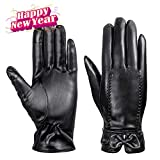 MEZETIHE Women Winter Waterproof Leather Gloves for Driving Texting Touch Screen Gloves