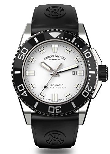 Armand Nicolet Men's Diver Automatic Watch with Rubber Bracelet JS9 A480AGN-AG-GG4710N