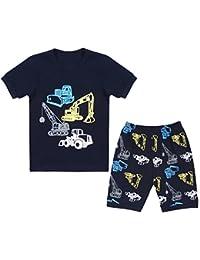 Boys Pajamas children Clothes Set 100% Cotton Little Kids...