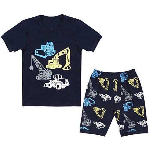 Tkala Fashion Boys Pajamas children Clothes Set 100% Cotton Little Kids PJS Sleepwear,1-navy Blue,7