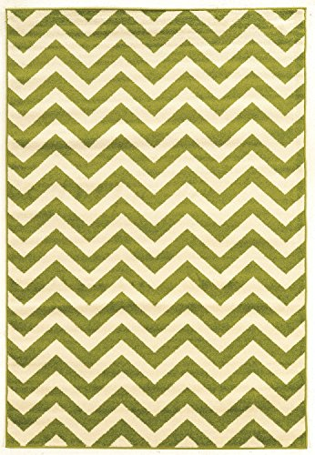 Linon Claremont Collection Chevron Synthetic Rugs, 5' x7', Green -
