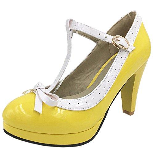 Ferme Bout Ete Pointure Grande Yellow Cheville Escarpins Elegant TAOFFEN Bride Sandales Femme Talon Aiguille q1C7t