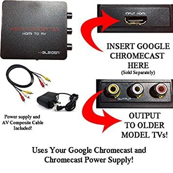 HDMI Converter for Google Chromecast: Use Chromecast with Older TVs That  Have Composite (red/White/Yellow) Inputs  Includes Converter, Power Adapter