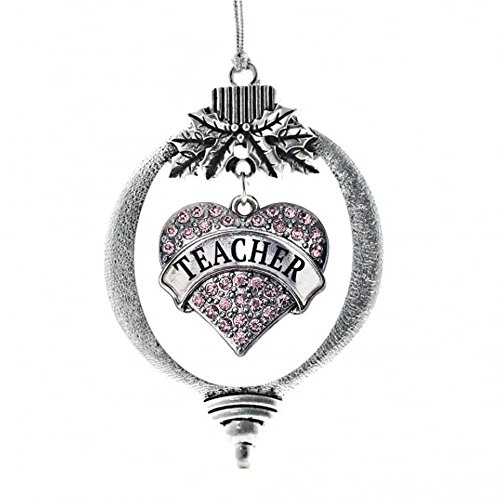 Christmas Ornament with Crystal Teacher Heart charm