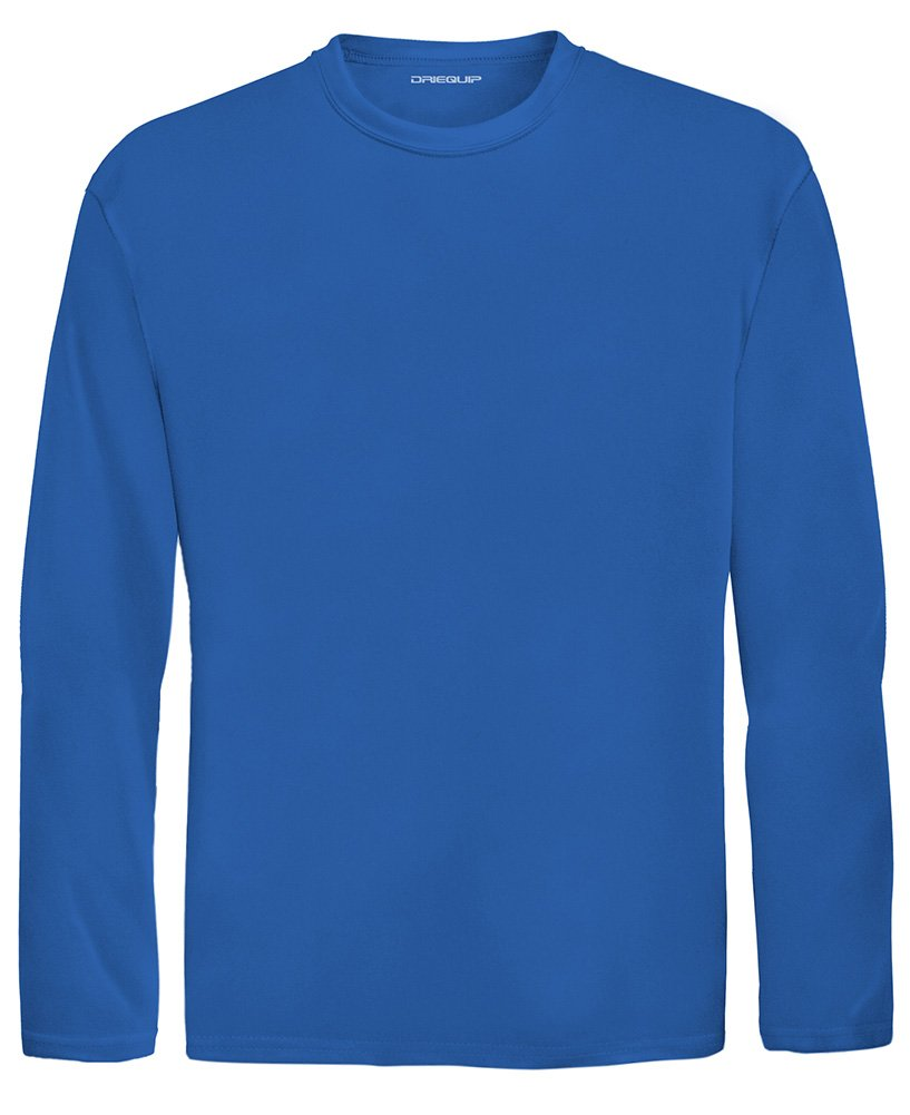 DRI-EQUIP Youth Long Sleeve Moisture Wicking Athletic Shirts. Youth Sizes XS-XL, True Royal, Large