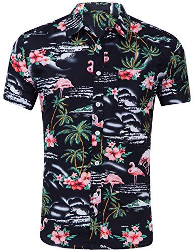 DOKKIA Men's Dress Tropical Short Sleeve Beach Party Luau Aloha Hawaiian Shirt (Pink Flamingo Black Palm Island, Large)