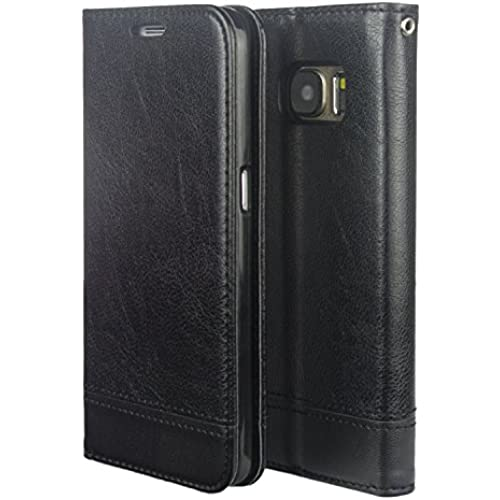MOACC Galaxy S7 Edge PU Leather Wallet Case with TPU Soft Holder, 2 Card Slots, Kickstand Feature Black Sales