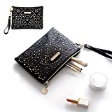 Makeup Bag Hand-held,WUHUA Gold Pattern Purse Pouch with Zipper,Cosmetic/Storage Bag for Lipstick Jewelry Accessories Collection,Single Layer Storage Bag for Women