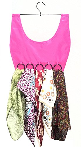 MARZ Products Hanging Closet Scarf & Fashion Accessories Organizer in Fuscia