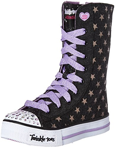 Skechers Kids Twinkle Toes Shuffles Tall High Top Light-Up Sneaker Black/Lavender