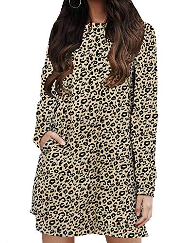 Ratilove Women's Fall Casual Long Sleeve Round Neck Leopard Print Mini Dress with Pockets Cheetah,M