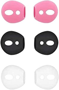 BLLQ AirPods Ear Tips Ear Gels Anti-Slip Earuds Cover Silicone Compatible with AirPods 2 & AirPods 1 or EarPods ? Fit in The Charging Case ? 3 Pairs White/Black/Pink