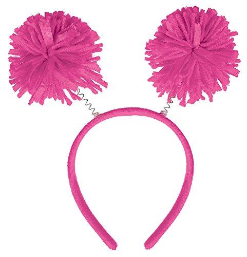 Amscan Head Bopper Pom Pom Funny Costume Party Headwear, Pink, Plastic, 9