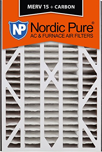 Nordic Pure 16x25x3 MERV 15 Plus Carbon Trion Bear Cub 266649-101 Replacement Pleated AC Furnace Air Filter, 1 Pack