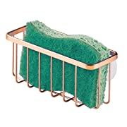 """iDesign Gia Kitchen Sink Suction Holder for Sponges, Scrubbers, Soap, Kitchen, Bathroom, 6.75"""" x 2.5"""" x 2.5"""", Copper"""