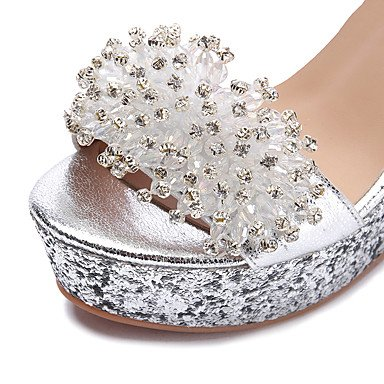 LFNLYX Sandalias mujer Primavera Verano Otoño Club Zapatos Badanas boda vestido de noche y talón de cuña brillante Glitter Silver Silver