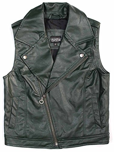 Xtra Sugar Girl's PU Leather Vest (Small, Olive) -