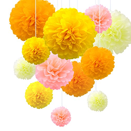 Tissue Paper Pom Poms Flowers Yellow Set of 14, 12, 10 inch, Pink Orange Kit, Flower Wedding Birthday Party Decoration Cheerleading Bouquet (Yellow)]()