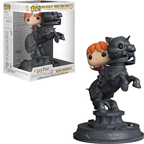 Funko- Pop Vinyl Movie Moments Harry Potter S5 Ron Riding Chess Piece Figura Coleccionable, Multicolor, unica (35518)