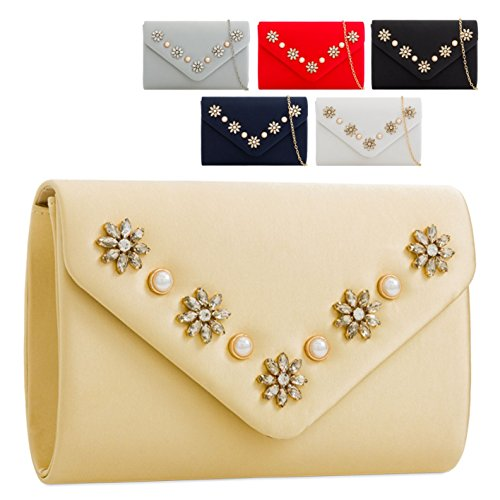 Evening Clutch Ladies Flower Envelope KZ2279 Handbag Stylish Red Bag Diamante Satin Women's 8q7Ux80