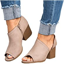 Women Low Heel Ankle Booties Slip On Vegan Suede Leather Cut Out Chunky Block Stacked Peep Toe Ankle Boots Shoes (BY Zu Qing)