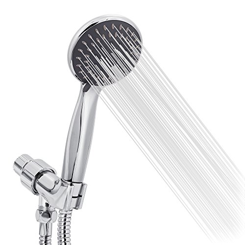 Handheld Shower Head High Pressure 5 Spray Settings Massage Spa Detachable Hand Held Showerhead 4.1'' Chrome Face with Hose and Adjustable Bracket by Briout