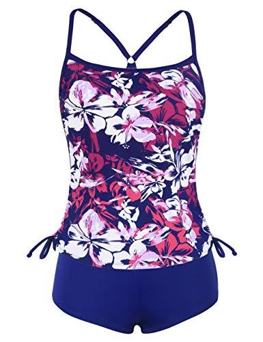 ninovino Women's Two Piece Bathing Suits Floral Printed Drawtring Tankini Swim Top with Boyshort Red-XS