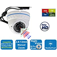 Evertech 960 P , 36 IR LED Color, 2.8~12mm Wide Angle Manual ZOOM Vari-focal Lens Indoor & Outdoor Metal White Home Security Surveillance Dome Camera - White