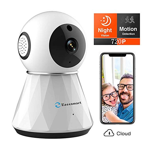 [2019 New] HD WiFi Camera Home Security Camera for Baby/Elder/Pet, Remote PTZ Live-Video, SD Card Auto Record, Motion Detection, 2-Way Audio, Night Vision, Cloud Storage