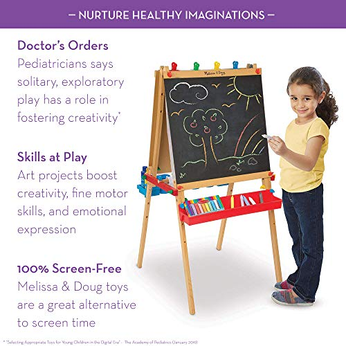 Melissa & Doug Deluxe Wooden Standing Art Easel, Arts & Crafts, Easy to Assemble, Builds Fine Motor Skills, 47 H x 27 W x 26 L Assembled