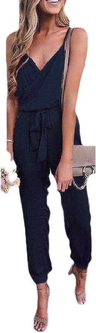 WSPLYSPJY Womens Cross Belted Pure Color V Neck Strap Backless Jumpsuits