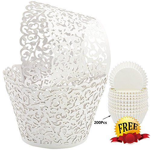 BAKHUK 100Pcs White Lace Cupcake Wrappers Cupcake Liners and 200Pcs White Baking Paper Cups Muffin cups for Wedding, Birthday, Party (Wedding Baking)