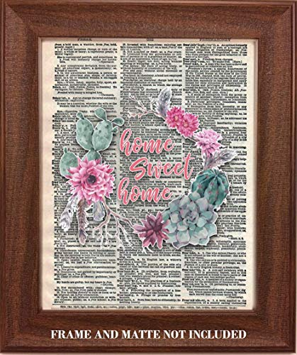 Home Sweet Home Flower Wreath Upcycled Dictionary Art - 8 x 10 Unframed Print - Unique Gift for Housewarming, Bridal Showers, Weddings- Home Wall Decor