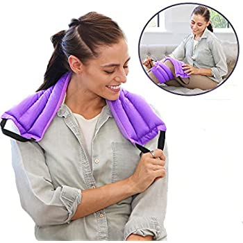 My Heating Pad Microwavable Multi Purpose Heat Wrap | Heating Pad for Neck and Shoulders with Handles for Easy Application | Natural and Reusable Hot Packs for Pain Relief and Relaxation (Purple)