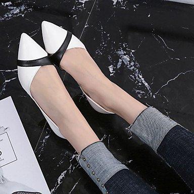 LvYuan Mujer Sandalias Confort Goma Verano Paseo Confort Hebilla Tacón Bajo Blanco Negro Menos de 2'5 cms Black