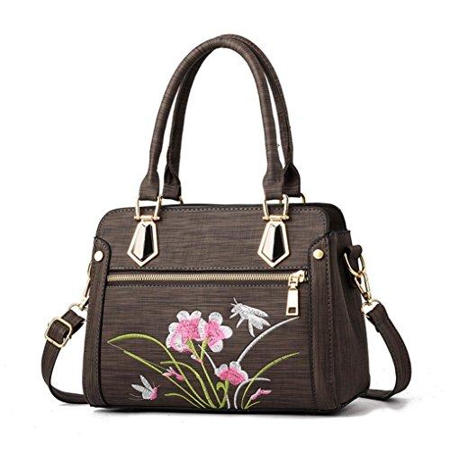 Café bandoulière sacs de Fermeture Dame Cabas à portatifs main à éclair sac Fleurs Femme Femme Sac Main Sacs couleur JIANGfu pure mode 4qFOw1