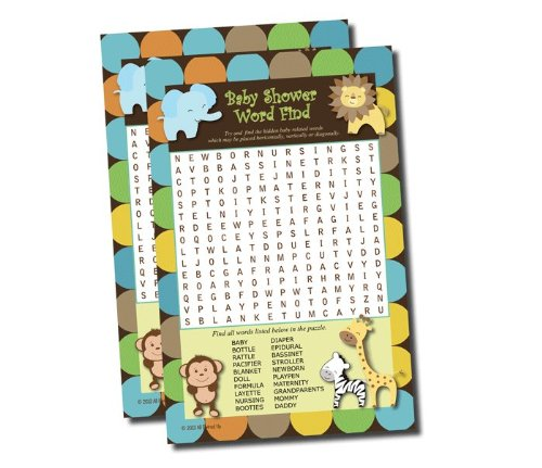 Word Find Search - Baby Shower Game - King of Jungle Theme (Baby Shower Safari Games)