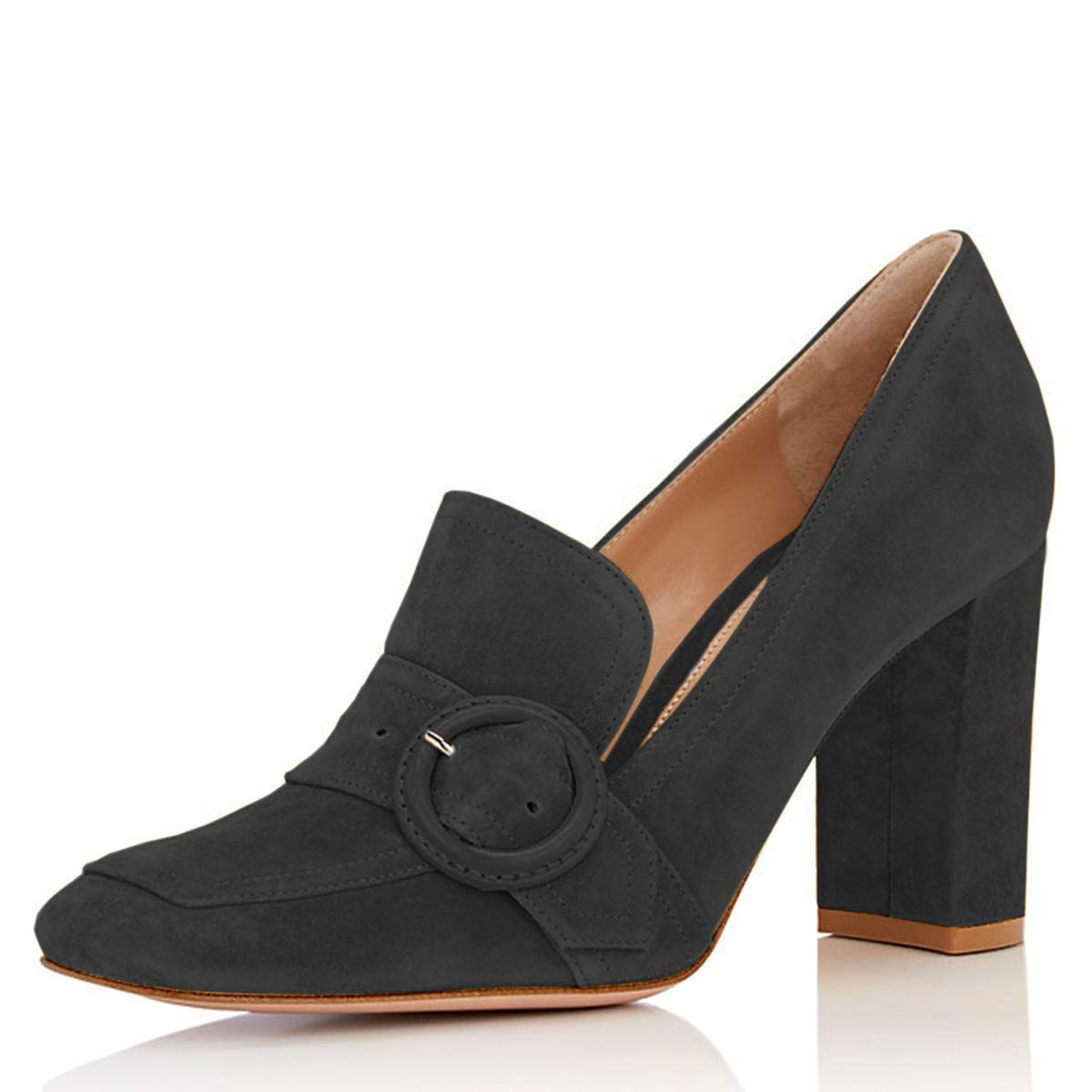 5aa4507f4e Amazon.com | YDN Women Chunky High Heel Square Toe Loafer Shoes Slip On  Suede Office Pumps with Buckle | Pumps