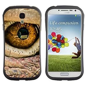 LASTONE PHONE CASE / Suave Silicona Caso Carcasa de Caucho Funda para Samsung Galaxy S4 I9500 / Eye Bird Intense Macro Photo Fire