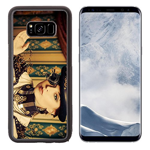 Liili Premium Samsung Galaxy S8 Plus Aluminum Backplate Bumper Snap Case IMAGE ID: 20718298 Portrait of a beautiful steampunk woman over vintage - Steampunk Products