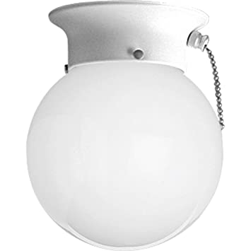 Progress Lighting P3605 30SW Ceiling Fixture With White Glass Globe And  Pull Chain, White