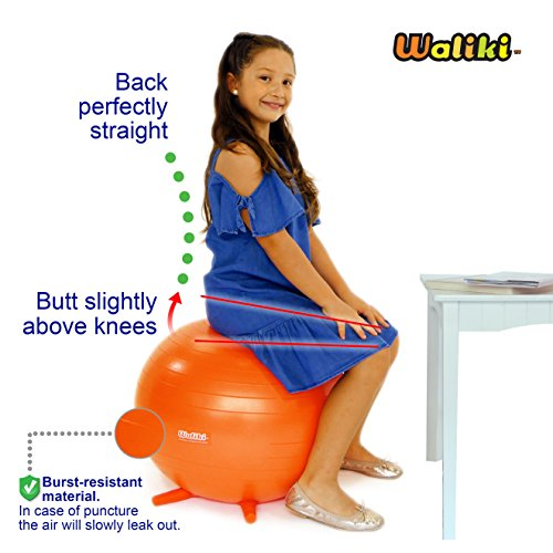 WALIKI TOYS Children's Chair Ball with Feet, Alternative Classroom Seating (Inflatable Balance Ball Chair With Stability Legs for School, Pump Included, 18''/45CM, Orange) by WALIKI (Image #5)