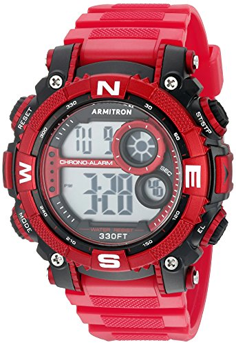 Armitron Sport Men's 40/8284RDBK Digital Chronograph Matte Red Resin Strap Watch ()