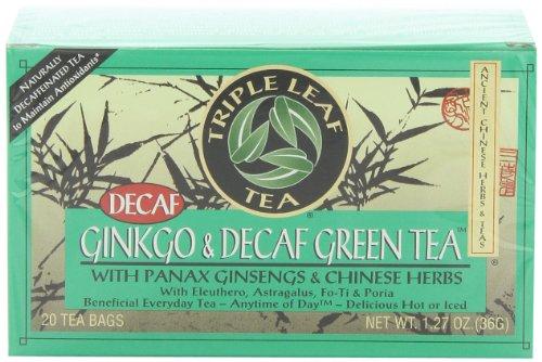 Triple Leaf Tea, sachets de thé, Ginkgo & thé vert décaféiné avec Panax Ginsengs & herbes chinoises, boîtes 20-Count (Pack de 6)