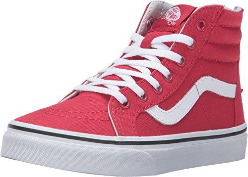 Vans Girls SK8-Hi Zip Varsity Kids Skate shoes (11 LITTLE KID M, Racing Red / True White) ()